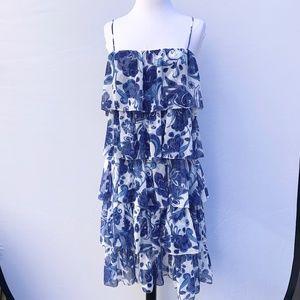 CAROLINE CONTRAS Floral Ruffled Dress Size L
